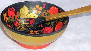 Russian bowl with teaspoon
