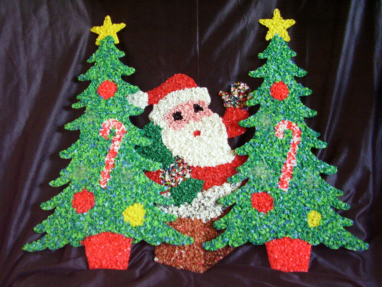 Melted Plastic Popcorn Decorations Santa Claus Christmas Trees Lot of 3