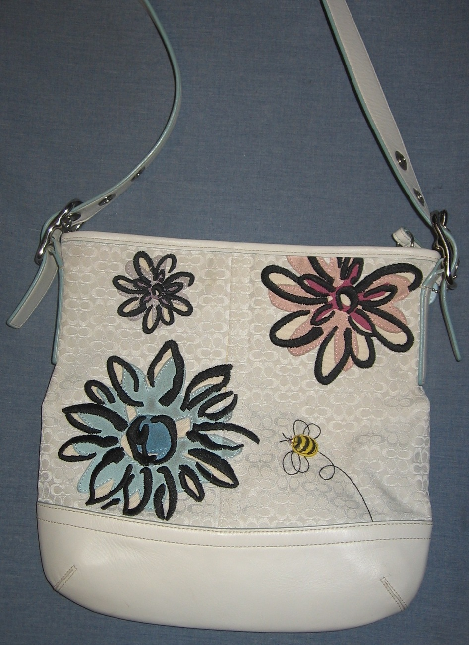 White Logo Floral and Bee COACH purse