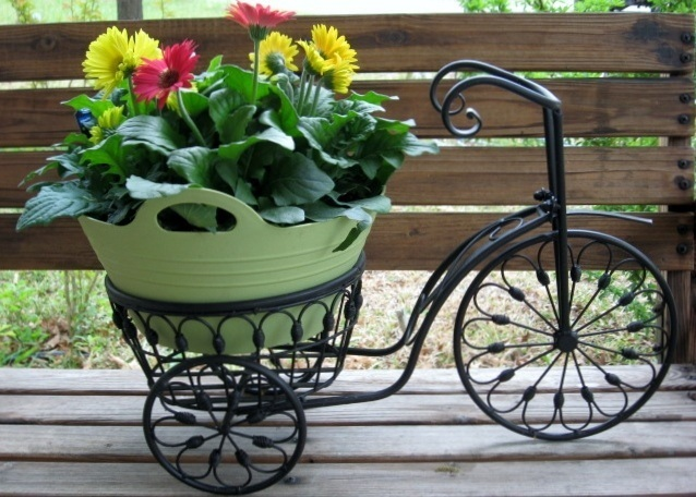 Bicycle Plant Stand Flower Pot Holder Iron Bike Indoor