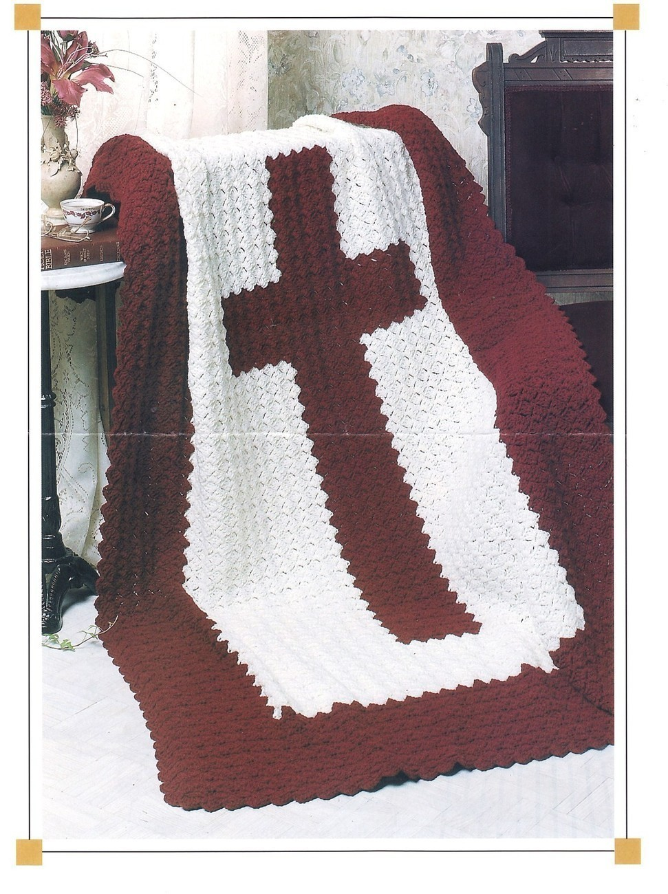 Crochet Cross Afghan Pattern Free : Cross Afghan Crochet Pattern Religious Blanket Throw - Afghans