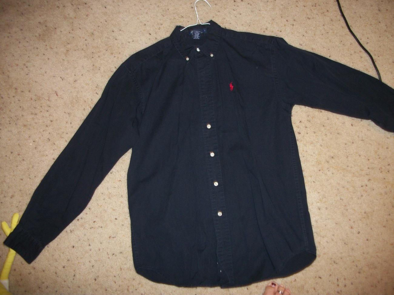 Ralph lauren womens navy blue button down shirt for Womens button up polo shirts
