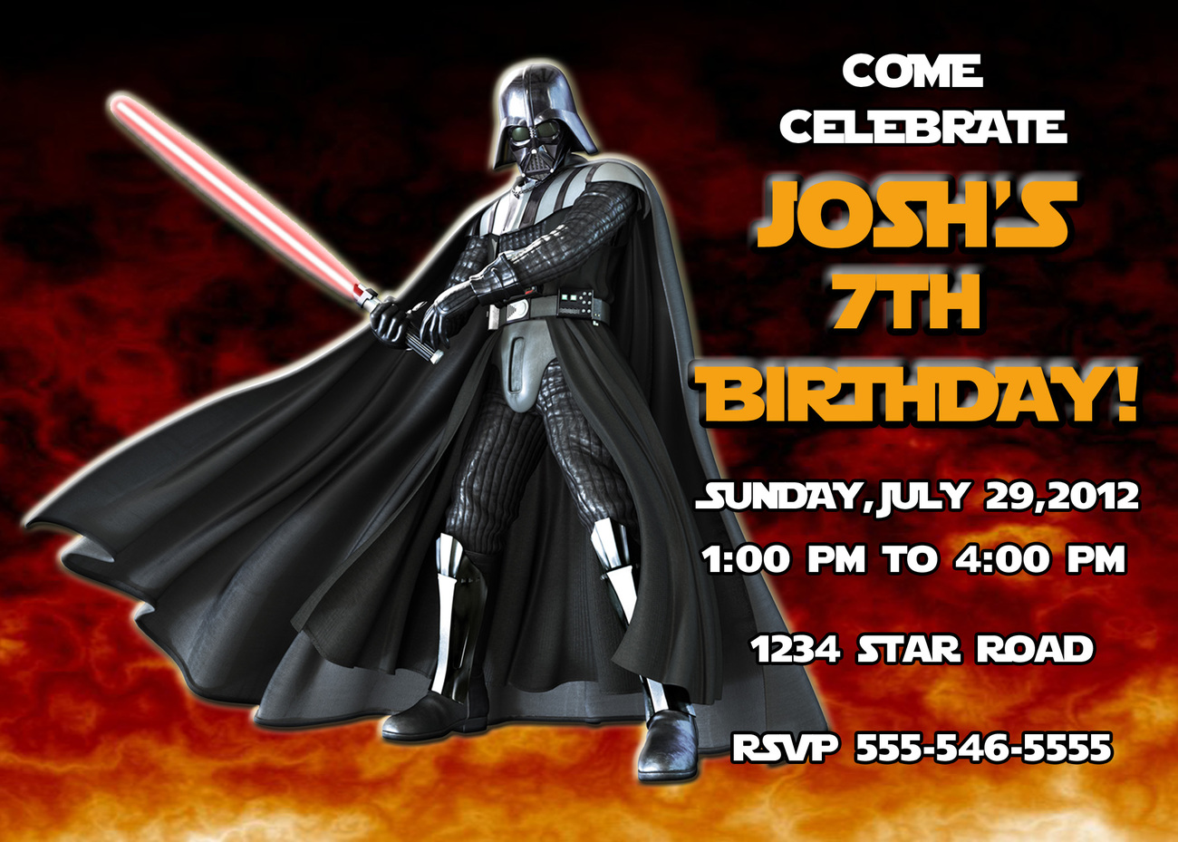 Personalized Star Wars Darth Vader Birthday Invitation Digital File ...: www.bonanza.com/listings/Personalized-Star-Wars-Darth-Vader...