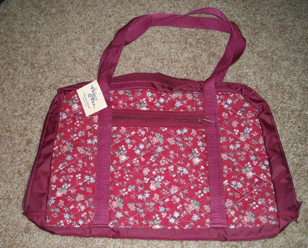 Windsor Wood Large Burgundy Quilted Project pak tote