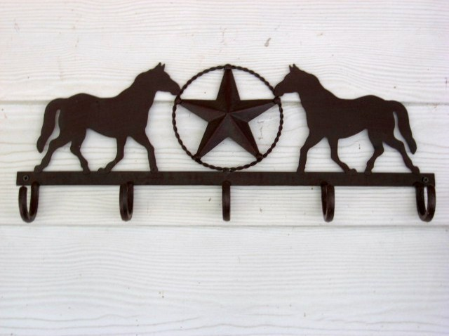 Western Coat Rack with Horse and Star