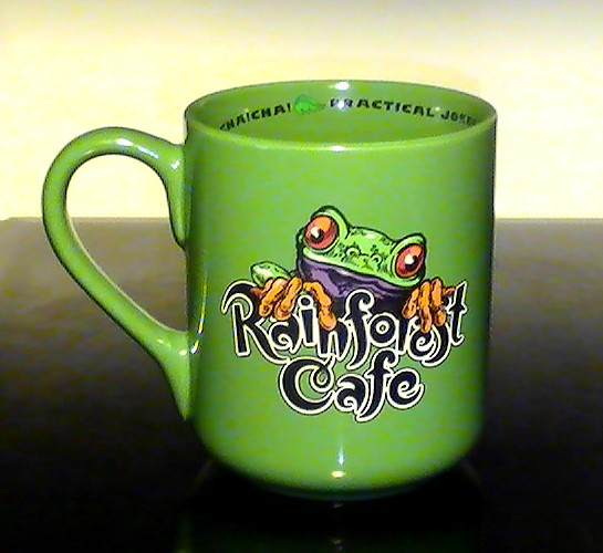 coffee cup mug 16 oz rainforest cafe chai chai frog green mugs cups. Black Bedroom Furniture Sets. Home Design Ideas