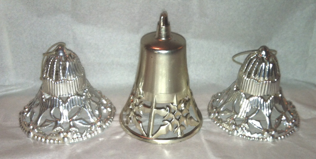 Lot of vintage s plastic silver bell christmas