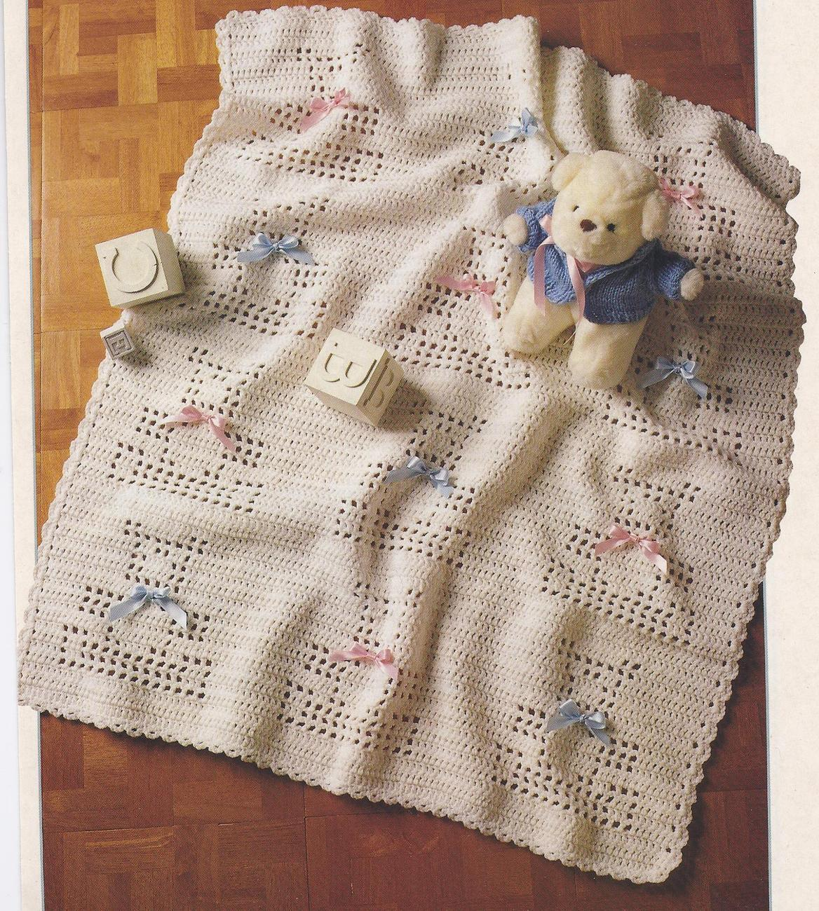Free Teddy Bear Filet Crochet Afghan Pattern : Baby Teddy Bear Afghan Filet Crochet Pattern - Baby & Children