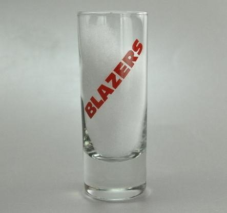 Vintage Portland Trail Blazers Tall Shooter Shot Glass Red Block Lettering