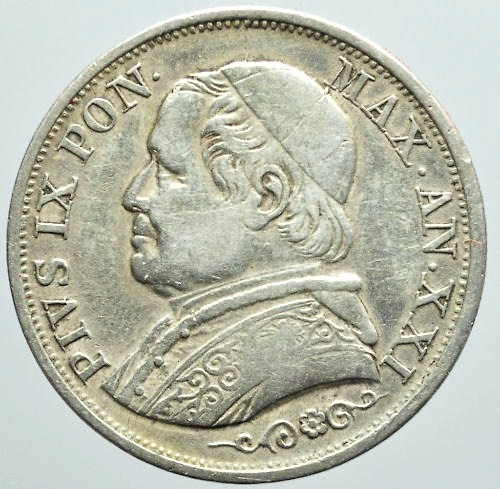 Solid Silver Papal States 1 Lira Coin - 1866.VF Pope Pius IX