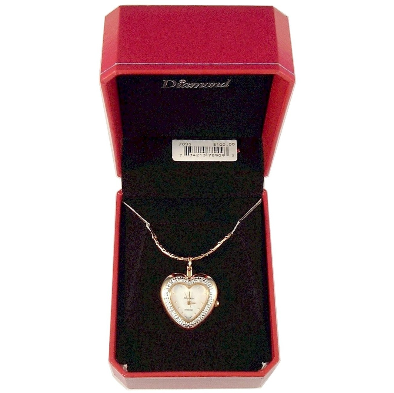PEUGEOT Heart Watch Diamond Chip Pendant Necklace Gold Metal