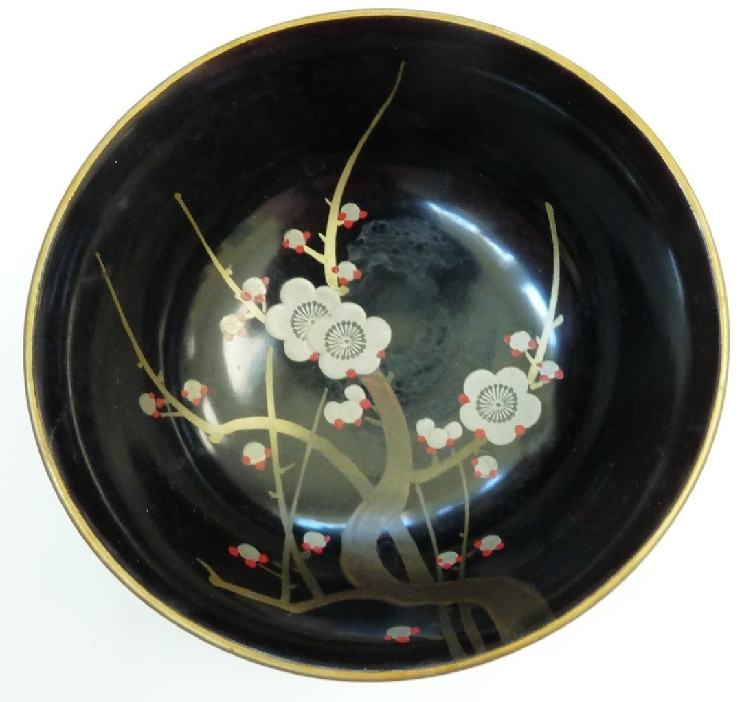 vintage black lacquer Japan bowl occupied cherries