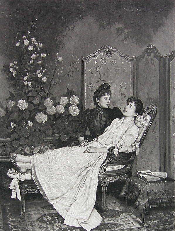 YOUNG LADY Love Sick Flowers - VICTORIAN Photogravure