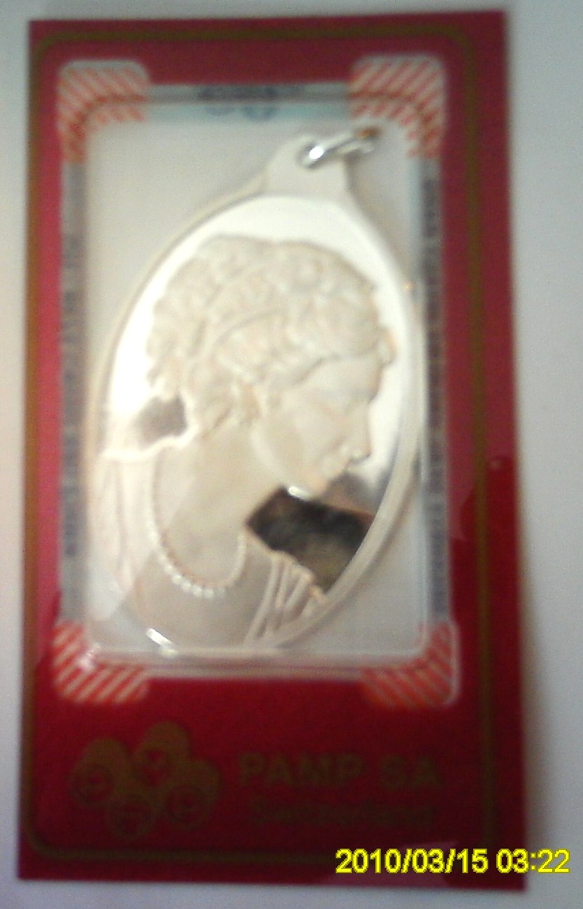 Pamp Suisse 999 Silver Bar Pendant Cameo