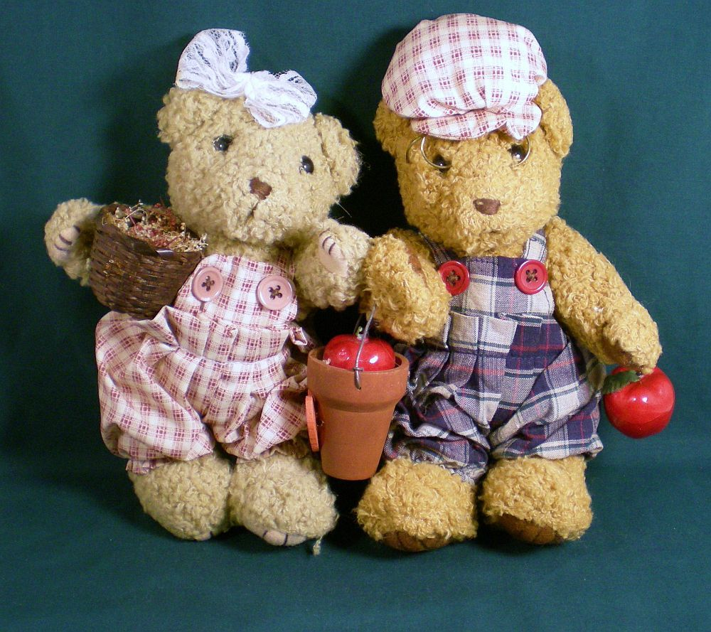 Mr and Mrs County Fair Teddy Bear Couple autumn Decor