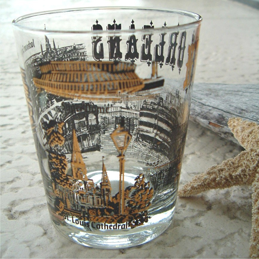 Vintage New Orleans Souvenir Cocktail Glass Barware Tumbler