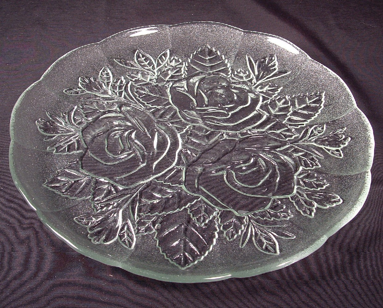 Livia Rose Pattern Glass Serving Platter & Two 10 Cold Plates  #41343D