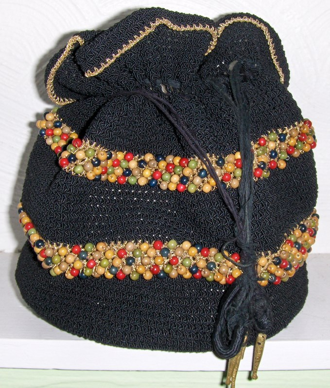 Vintage 70's Handbag Beaded Purse Hippie Peasant Goth Grunge