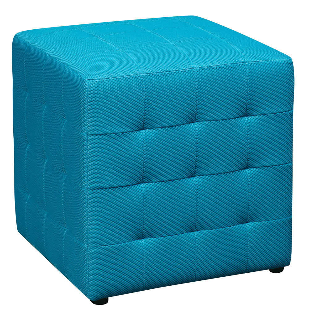 Blue Square Mesh Fabric Cube Ottoman Footstool Side