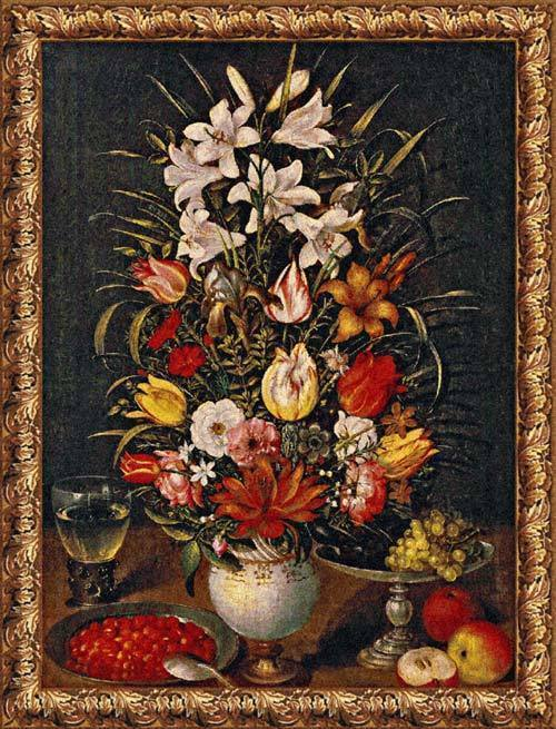 51x39 Antique Breughel Floral Tapestry Wall Hanging