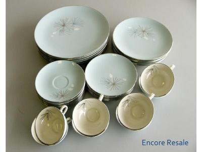 34 PCS VINTAGE FRANCISCAN SILVER PINE CHINA 6 SETTINGS
