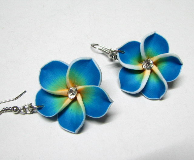 E887 Ceramic Clay Blue Flower Hook Earrings 6cm