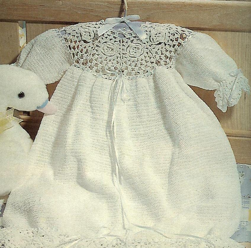 Rare Thread Crochet Rose Motif Christening Gown Pattern Baby Amp Children