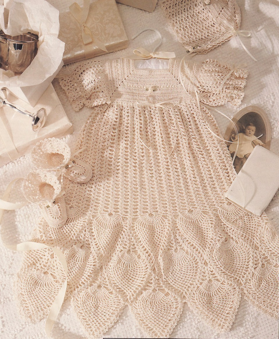 Crochet Pattern For Christening Gown : Christening Collection Baby Crochet Pattern Book Dress ...