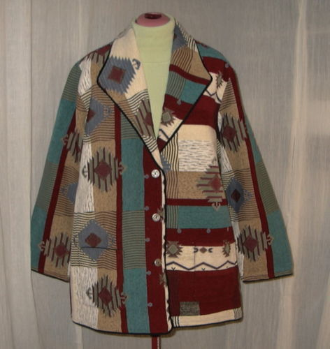 Navajo Indian Design Tapestry Blanket Carpet Coat Jacket Plus Size 3X