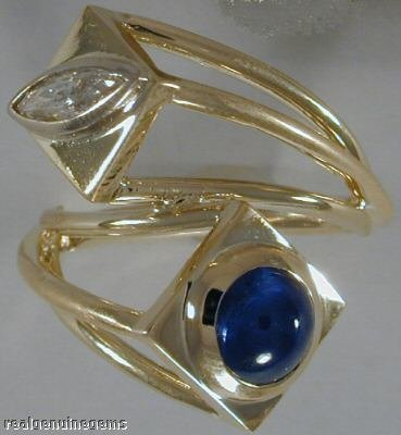 3.3ct Sapphire & 0.39ct Marquis Diamond Estate Ring 18K