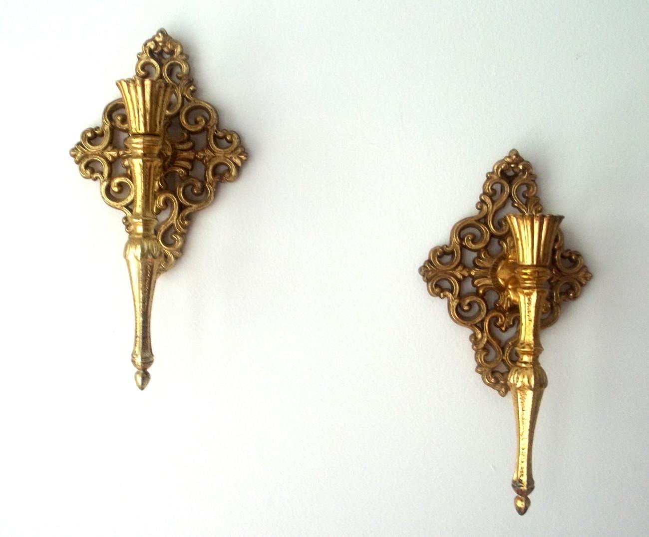 home interiors brass wall sconces gold diamond scroll set