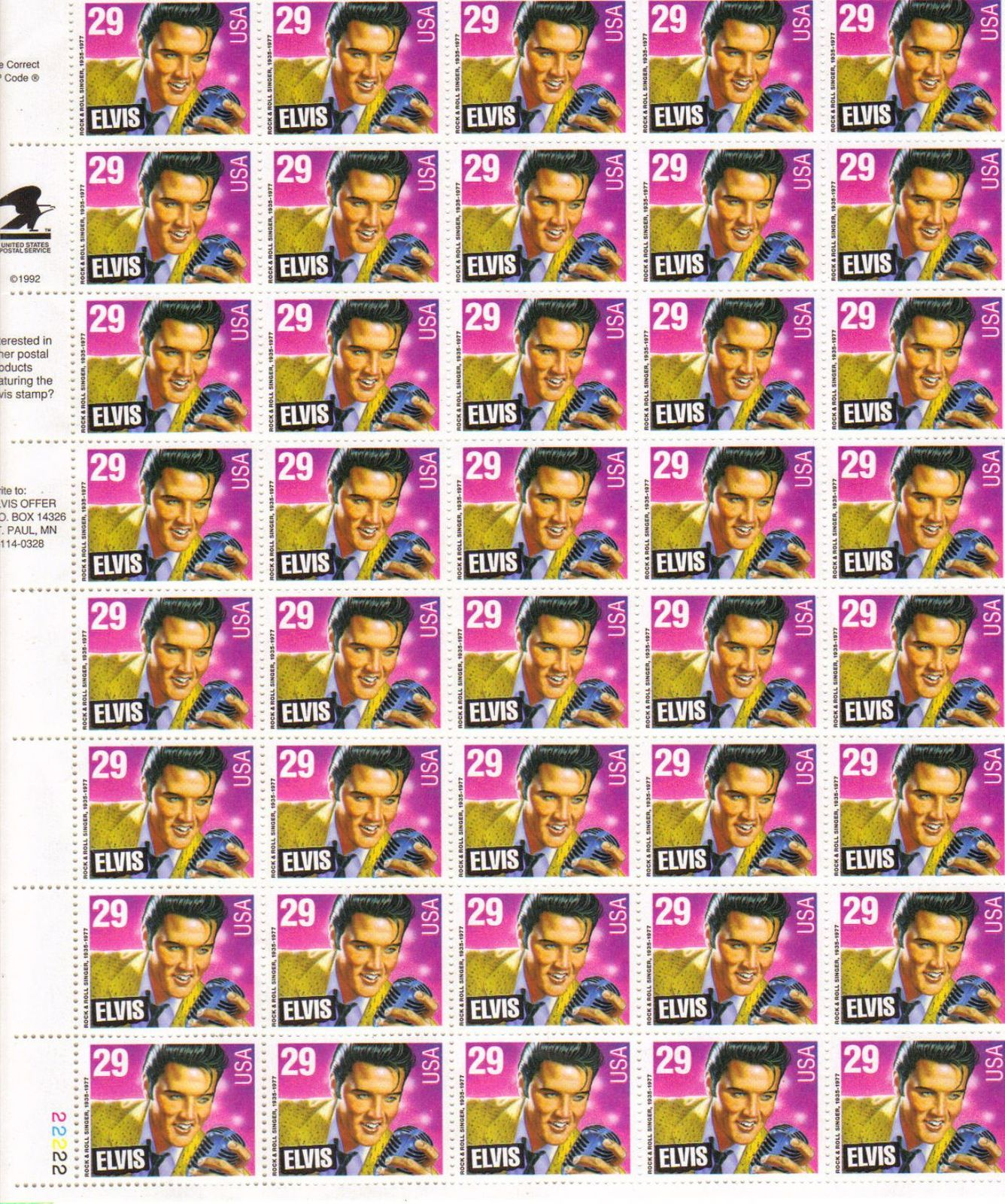 USPS Elvis Presley Commemorative Stamp Sheet