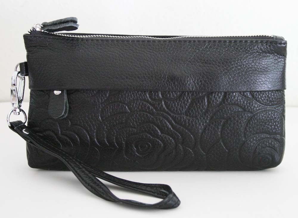 NW SOFT Genuine LEATHER Flower Embossed Wristlet / Wallet Cu