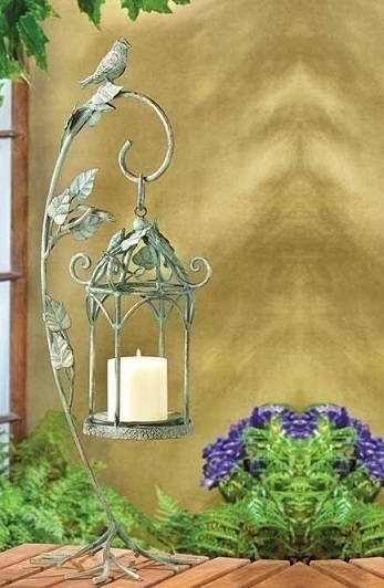 Large Iron Bird Cage Lamp Lantern Vine Leaf Stand Pillar Votive Candle Holder