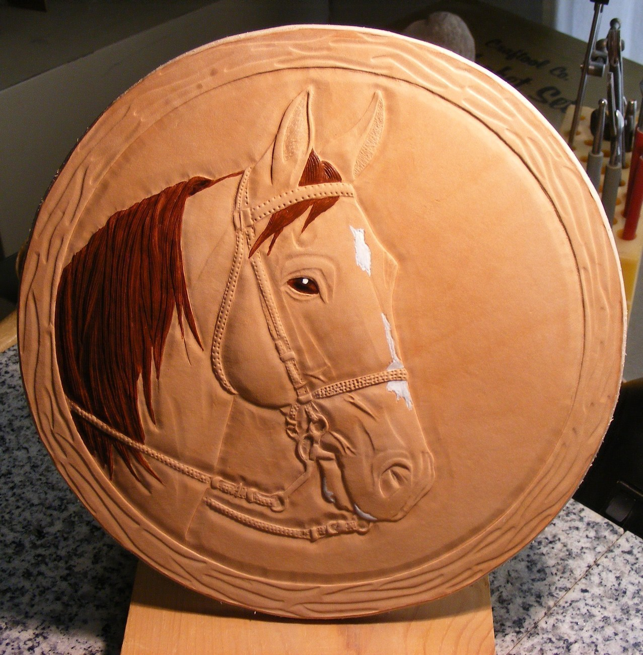 Custom equine portrait on leather carved and hand painted