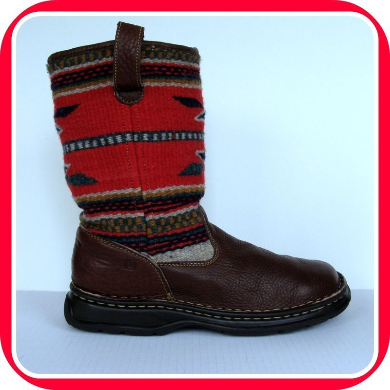 Women BORN Indian Blanket BOOTS 10 42  Leather Southwestern Wool Premium SHOES