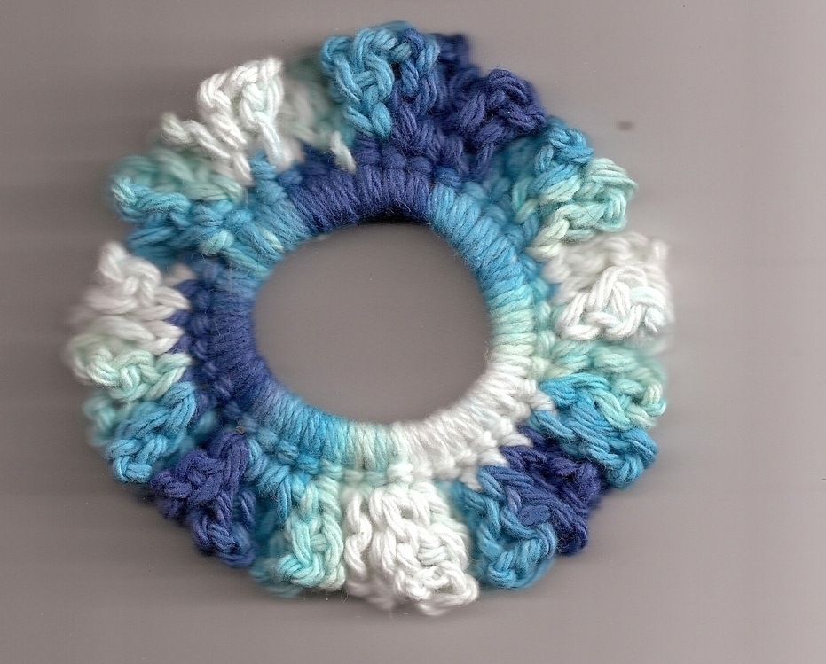 Crochet Hair Ponytail : ... Galore ? Blue White Crochet Ponytail Hair Scrunchie Handcrafted