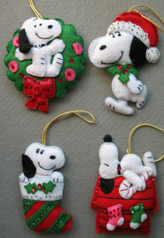 Vintage Handmade Snoopy Felt Jeweled Christmas Ornaments