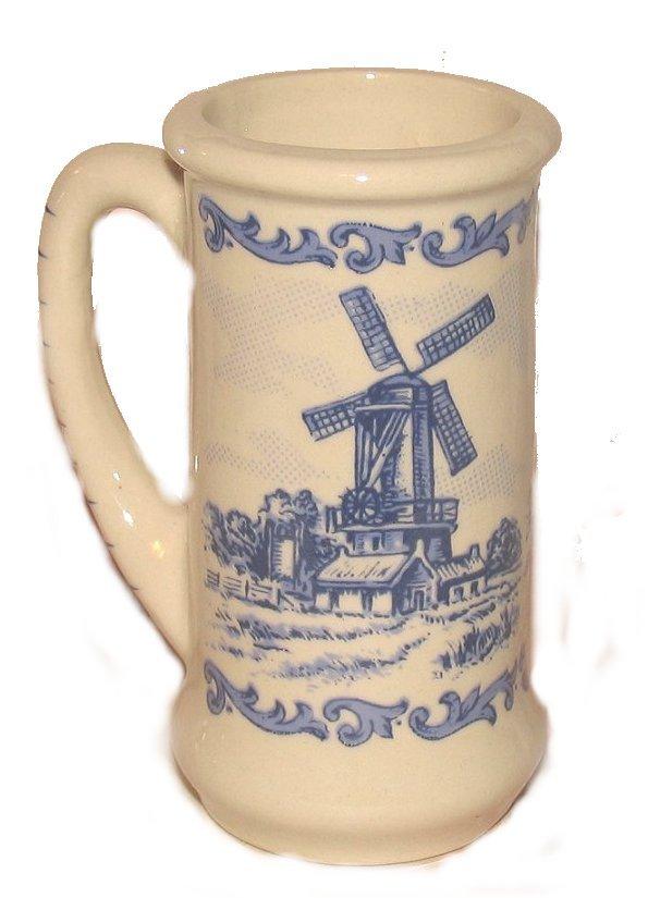 Blue Dutch Windmills On A Mini Tankard Stein Mug Ceramic