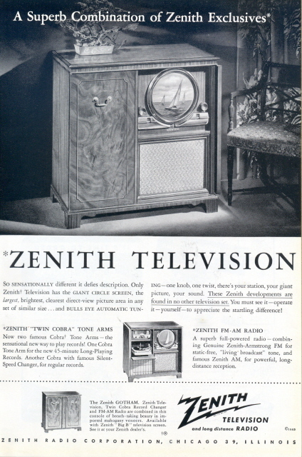 1949 Zenith Gotham Twin Cobra Record Changer TV ad