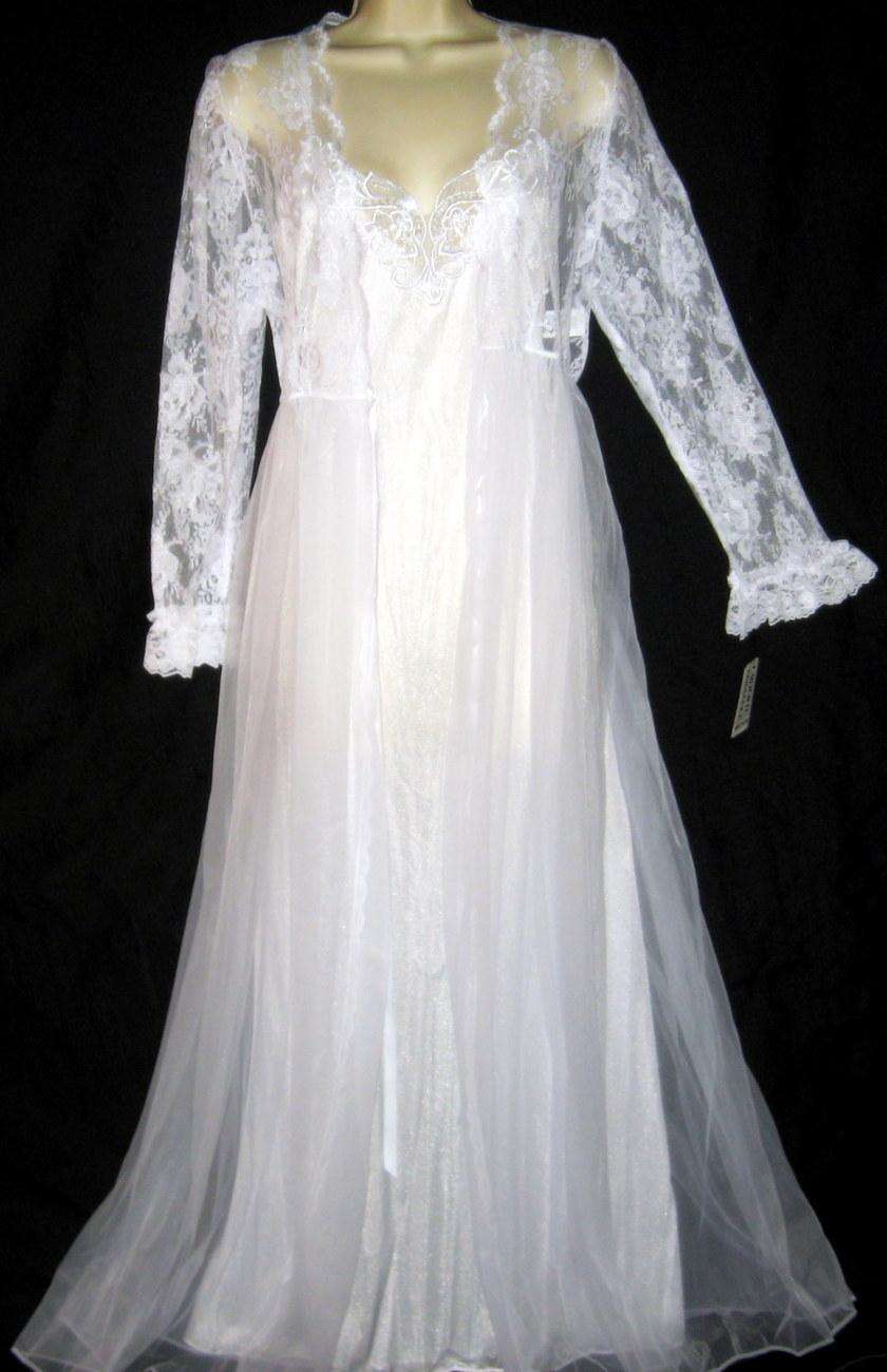 Venise Lace White Bridal Robe & Gown Set M