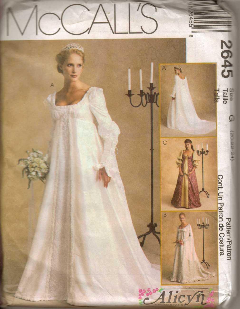 Misses Medieval Wedding Dress McCalls 2645 20 24 Sewing Patterns