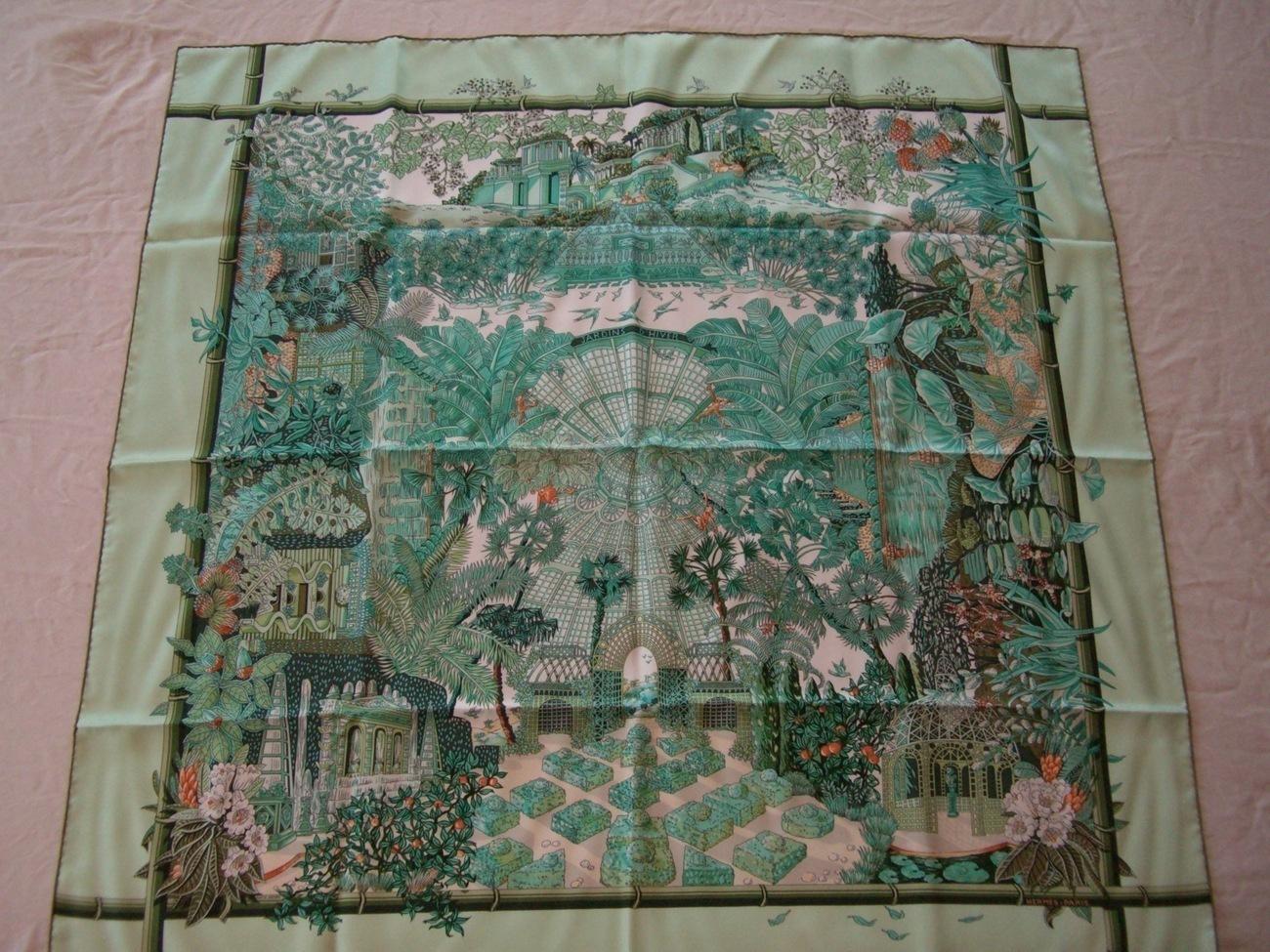 Hermes scarf jardins d 39 hiver green pattern print - Jardins dhiver com ...