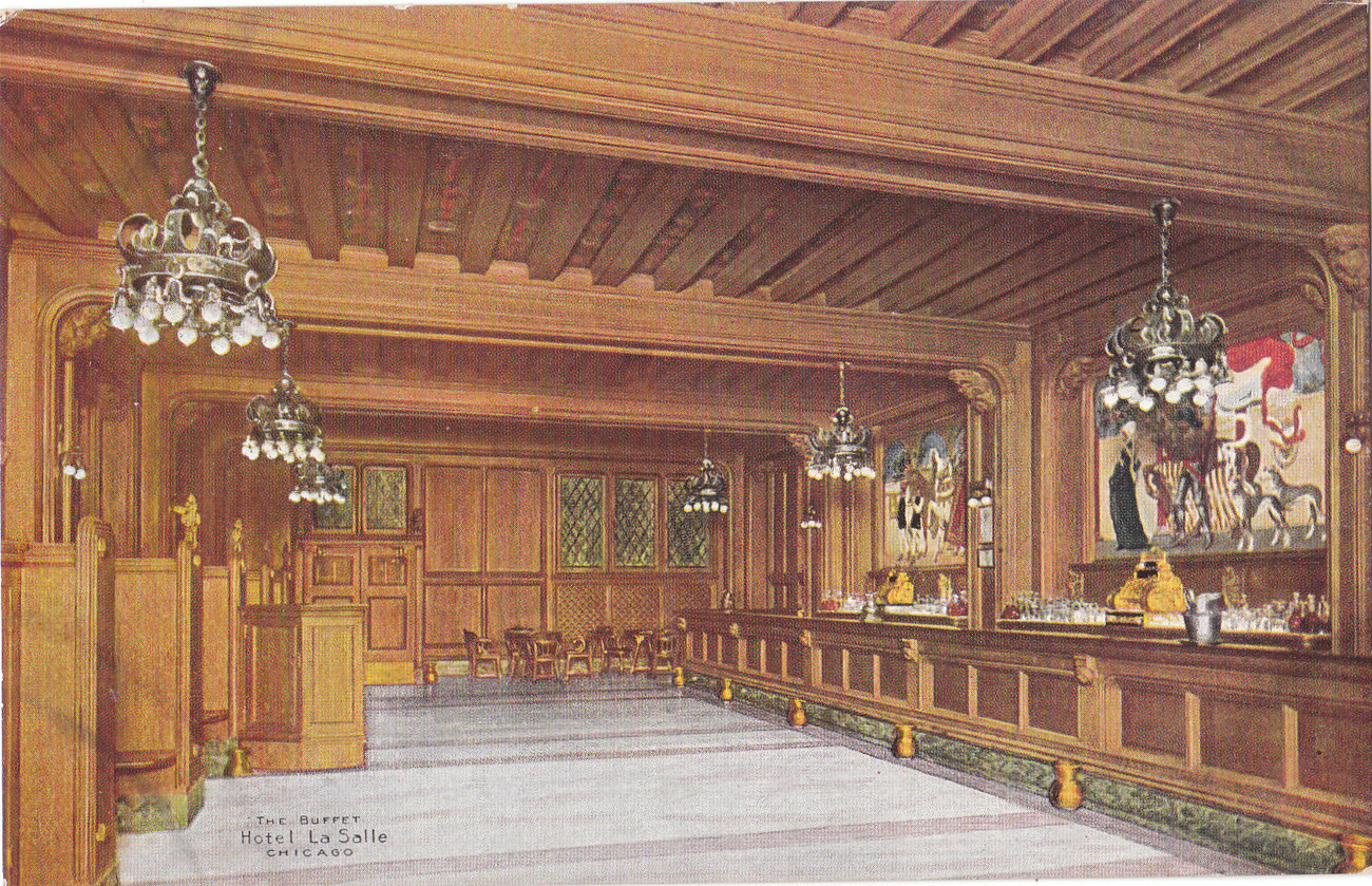 Original 1915 postcard view of the buffet in la salle for Buffet chicago but