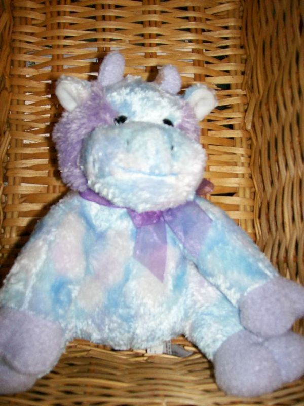 "Bestever Plush Purple Tie Dye Lovey 8"" Cow Doll Toy"