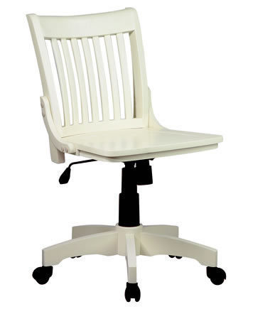 Antique White Mission Style Armless Banker Swivel Office