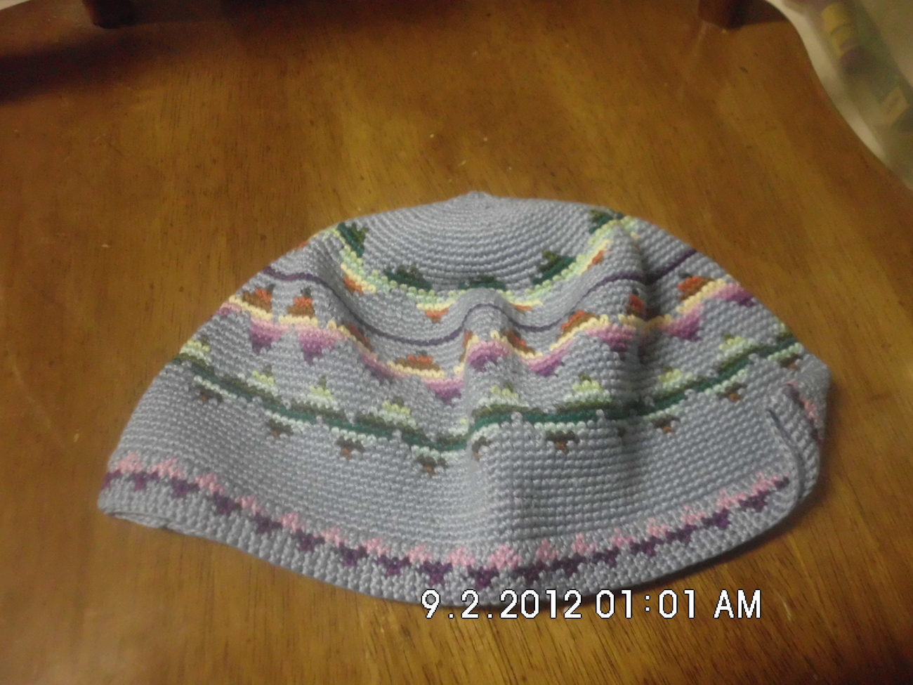 Childrens Crochet Kufi Hat Light Blue W/ Design Handmade