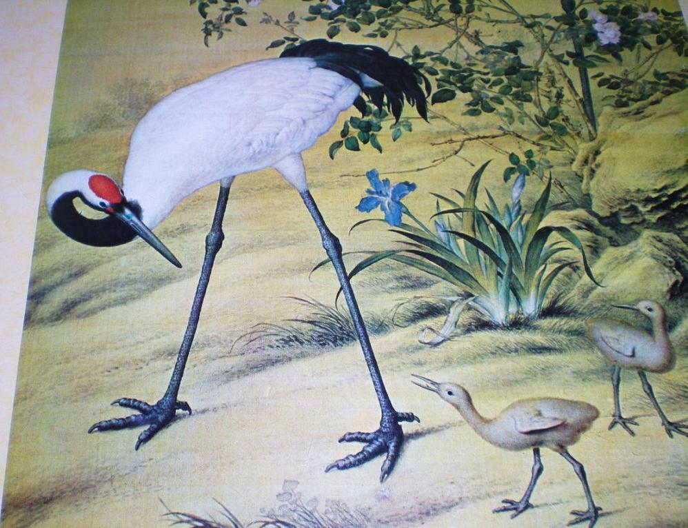 Image 2 of Cranes and Flowers by Lang Shih-ning high quality reprint