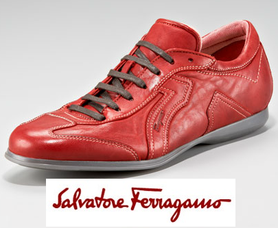 $455 Salvatore Ferragamo AUTHENTIC LOGO RED LEATHER SNEAKERS SHOES BRAND NEW 11D