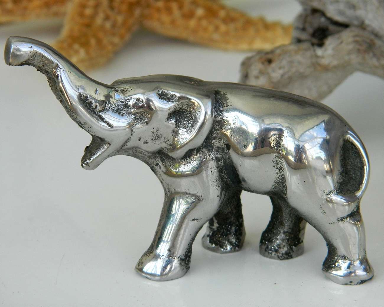 Vintage Chrome Silver Metal Elephant Figurine Trunk Up Gop